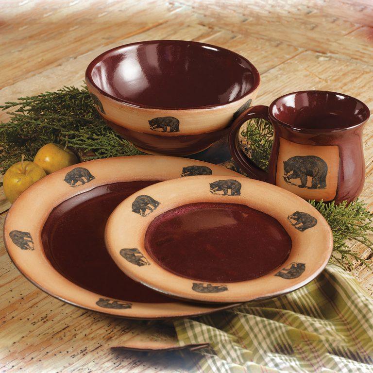 Black Bear Red Pottery Dinnerware
