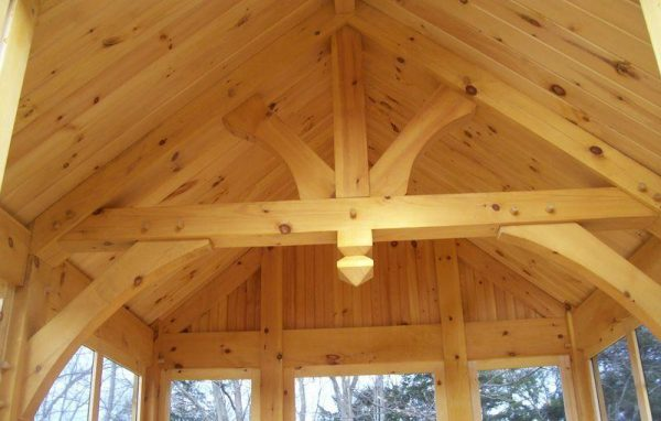 Kings Post beam in a timber frame home