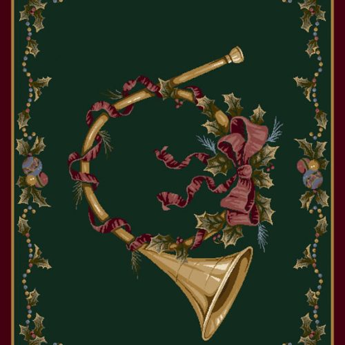 holiday rug with french horn on green background