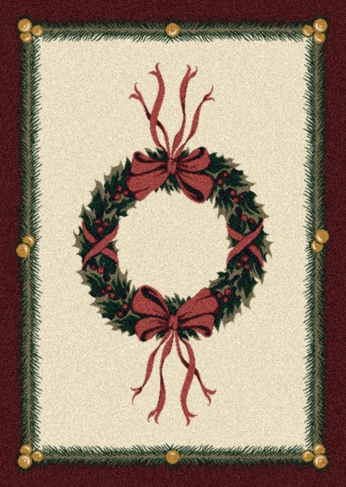 holly green wreath on tan background rug