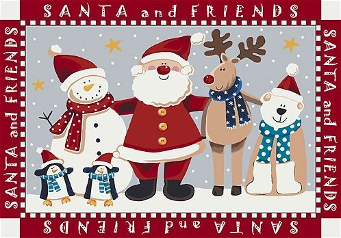 Santa and his snowmen, reindeer, and penguin friends red rug