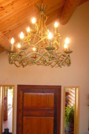 antler light at door