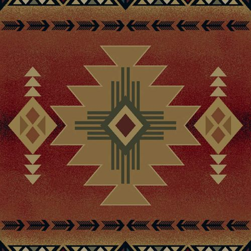 native american symbols on a crimson rug