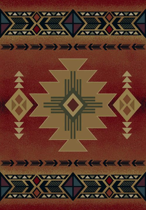 native american symbols on a crimson rug