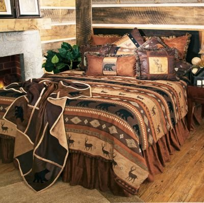 Autumn Trails comforter set on a bed in a log home bedroom
