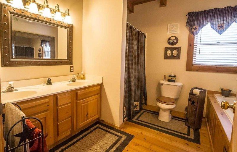 Bathroom curtains in a log home