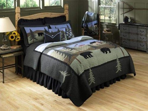 Bear Lake quilt with bears and forest on bed