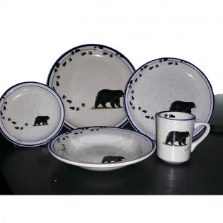 Dinnerware with bear and bear tracks