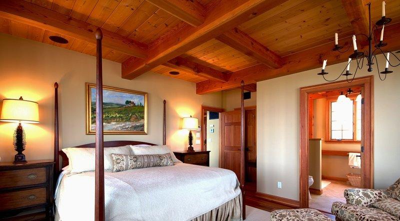Bedroom in timber frame home