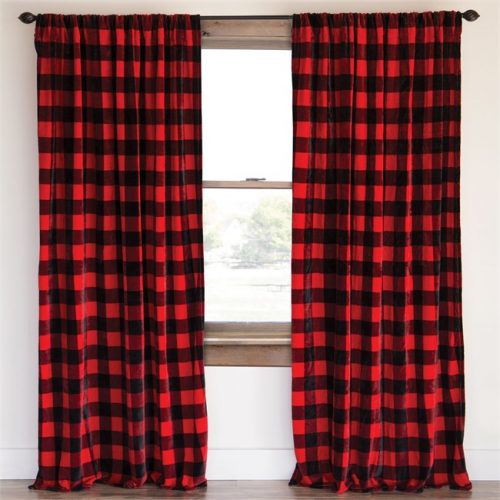 Red buffalo check drapes