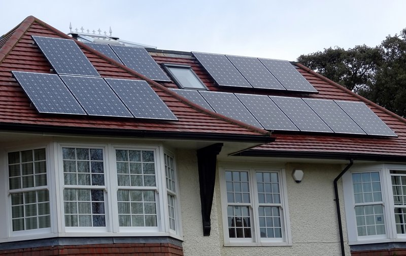 Solar panels on a green home