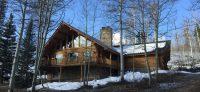 Beautiful log cabin in trees