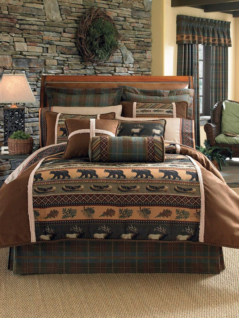 Pretty brown caribou comforter on a bed