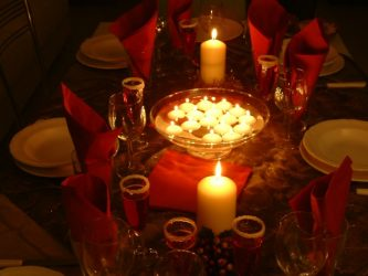 Christmas table with candles