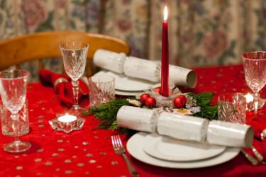 Christmas table with red tablecloth