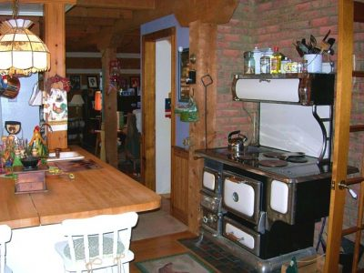 cook stove in log home