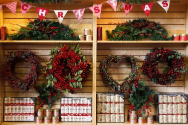 Christmas wreaths in a shop