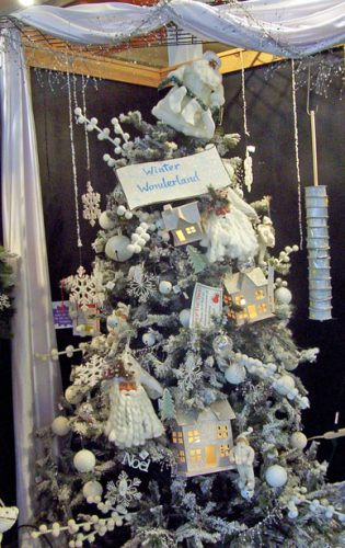 Christmas tree with all white ornaments