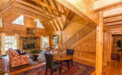 Defined areas in log home interior