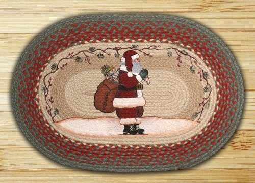 rug depicting santa with his pack of toys