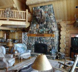 Buffalo head over fireplace mantle