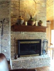 Pottery on fireplace mantle