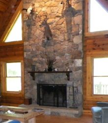 fireplace decorated with deer head