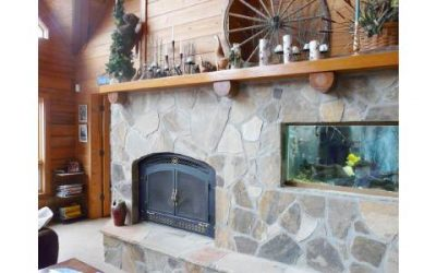 Fireplace mantle with assorted objects