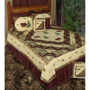 Forest Log Cabin Quilt by Patch Magic with log cabins and pine trees on cream background