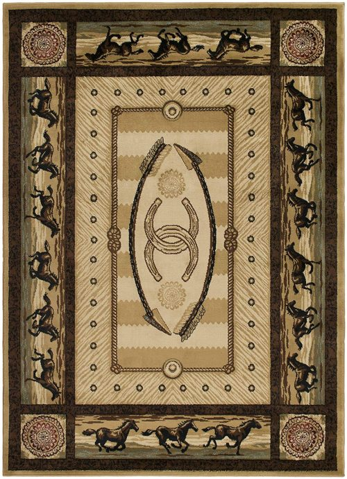 galloping horses on a beige rug