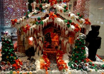 gingerbread house with icing snow