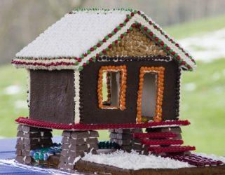 gingerbread house on stilts
