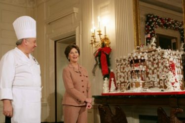 White House gingerbread house with Laura Bush