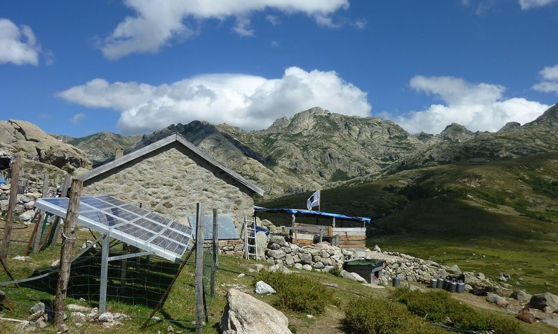 Solar panels in mountainous area