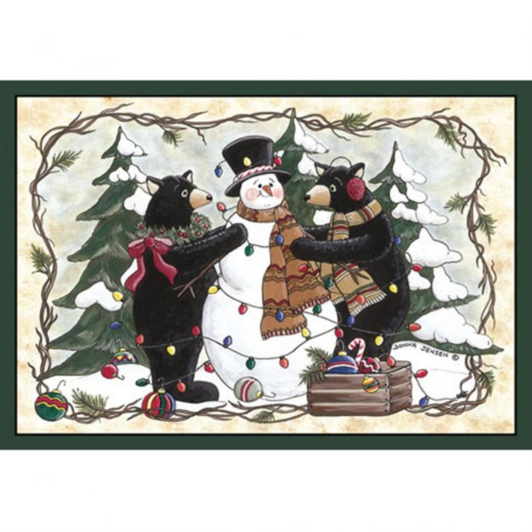 rug picturing two whimsical bears decorating a snowman