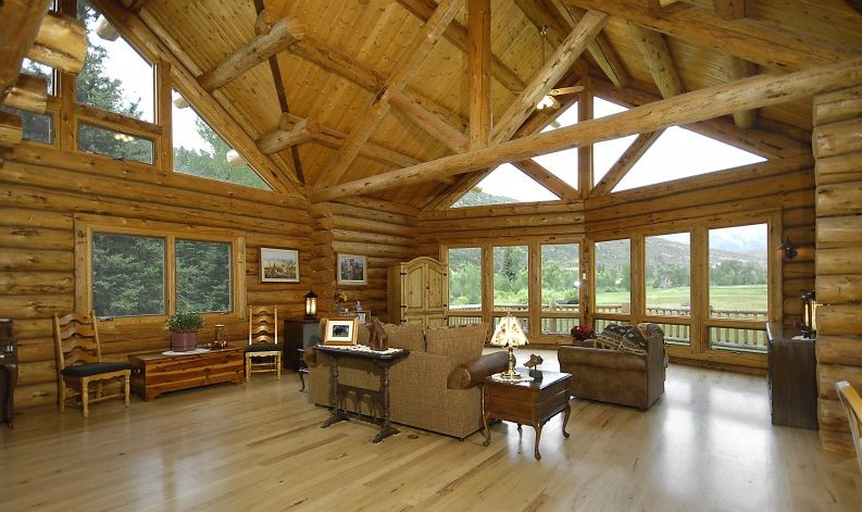 Large windows in a log home