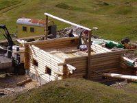 Log cabin kit home under construction