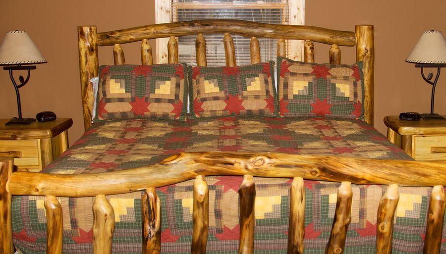 Log Cabin Quilt on Log Bed