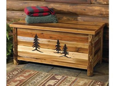 Log Chest with Evergreen Carvings
