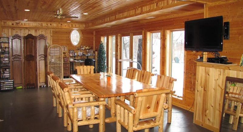 Log furniture in a dining area