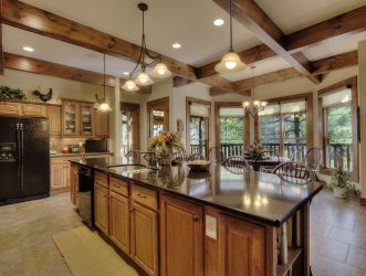 log home lighting in kitchen