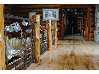 Log home railing art
