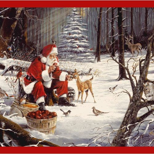 rug with Santa feeding forest animals Christmas treats