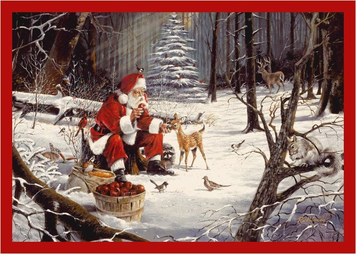 rug with Santa feeding forest animals Christmas treats