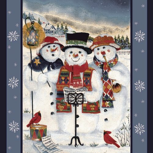 rug with 3 snowmen singing chrismas carrols on a snowy day