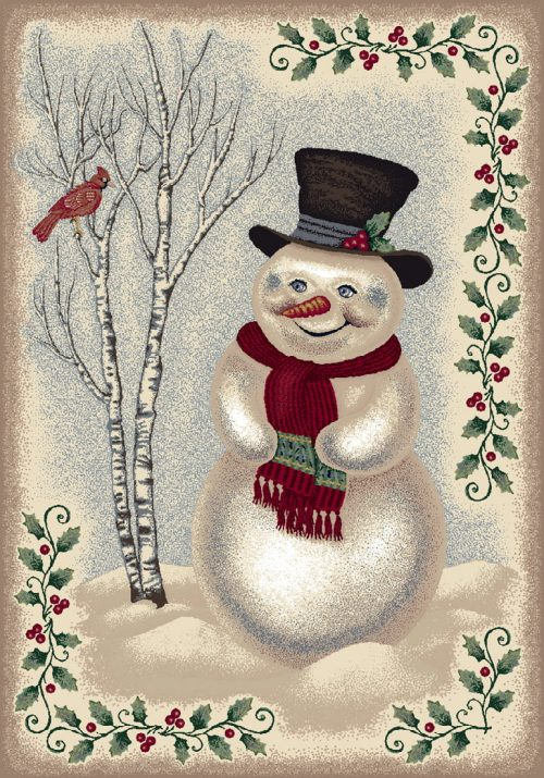 snowman and red cardinal rug