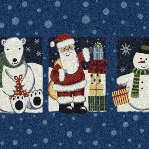 rug with Santa Claus, polar bear and holiday snowman, on a background of blue with snowflakes