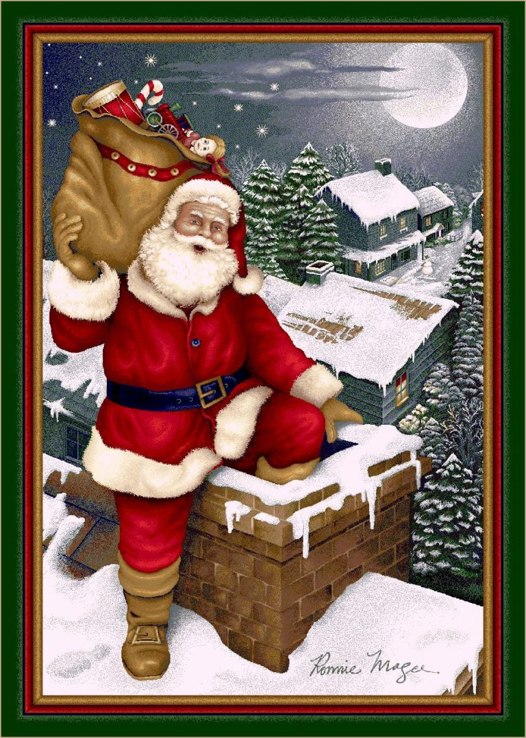 rug picturing Santa on a rooftop ready to go down the chimney to deliver his toys