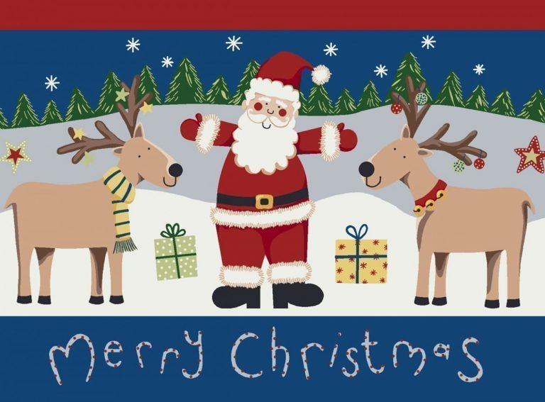 rug depicts 2 reindeer with Santa