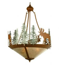 Chandelier with moose and trees